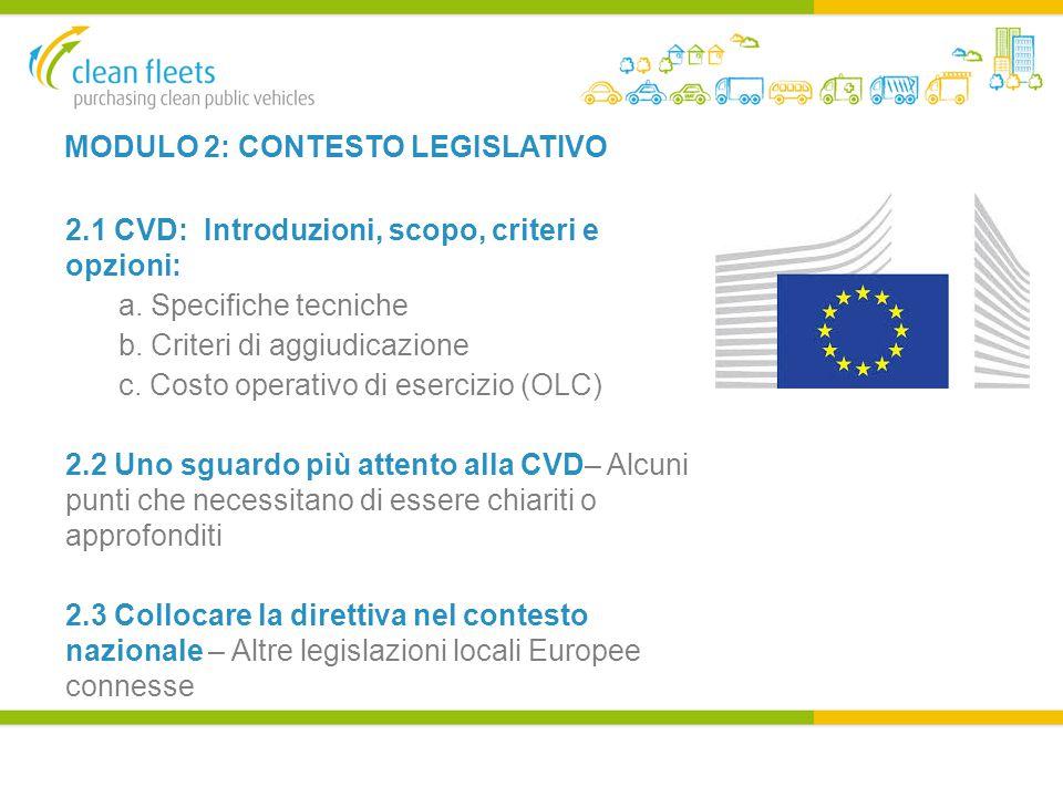 MODULO 2: CONTESTO LEGISLATIVO 2.1 CVD: Introduzioni, scopo, criteri e opzioni: a.