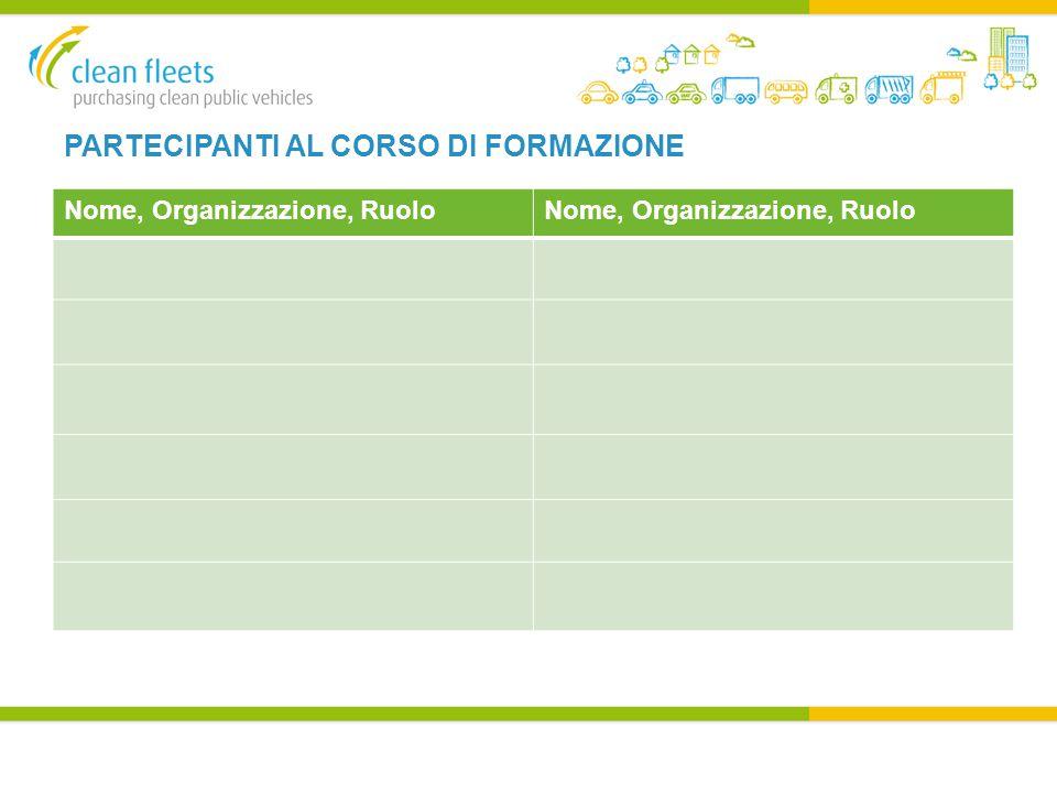 PARTECIPANTI AL CORSO DI FORMAZIONE Nome, Organizzazione, Ruolo