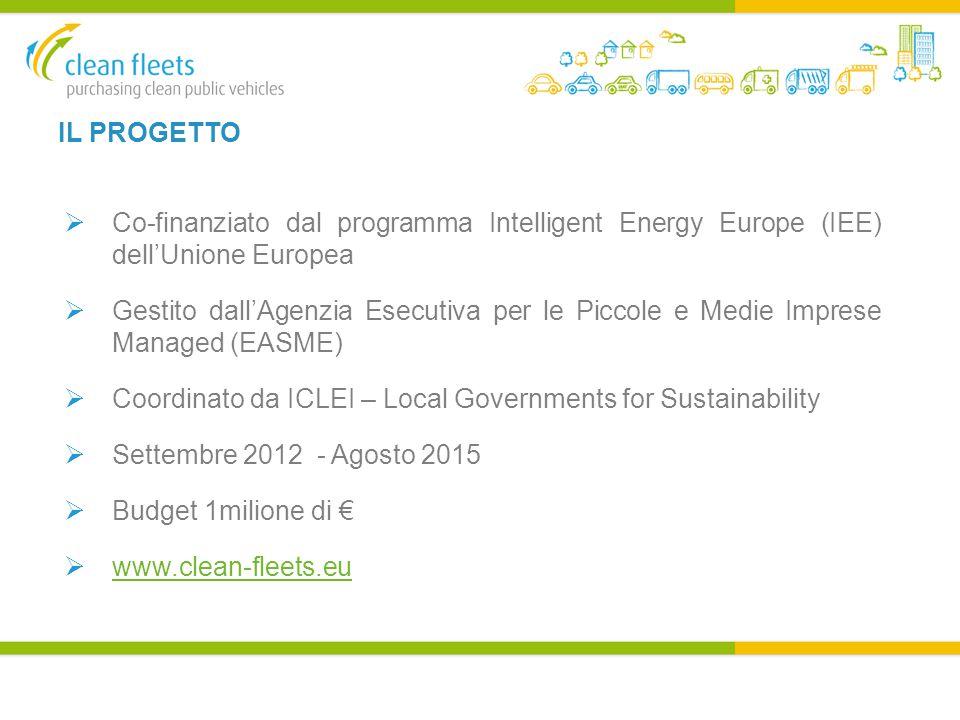 IL PROGETTO  Co-finanziato dal programma Intelligent Energy Europe (IEE) dell'Unione Europea  Gestito dall'Agenzia Esecutiva per le Piccole e Medie Imprese Managed (EASME)  Coordinato da ICLEI – Local Governments for Sustainability  Settembre 2012 - Agosto 2015  Budget 1milione di €  www.clean-fleets.eu www.clean-fleets.eu
