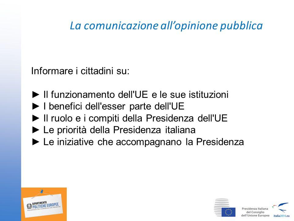 La comunicazione all'opinione pubblica Informare i cittadini su: ► Il funzionamento dell UE e le sue istituzioni ► I benefici dell esser parte dell UE ► Il ruolo e i compiti della Presidenza dell UE ► Le priorità della Presidenza italiana ► Le iniziative che accompagnano la Presidenza