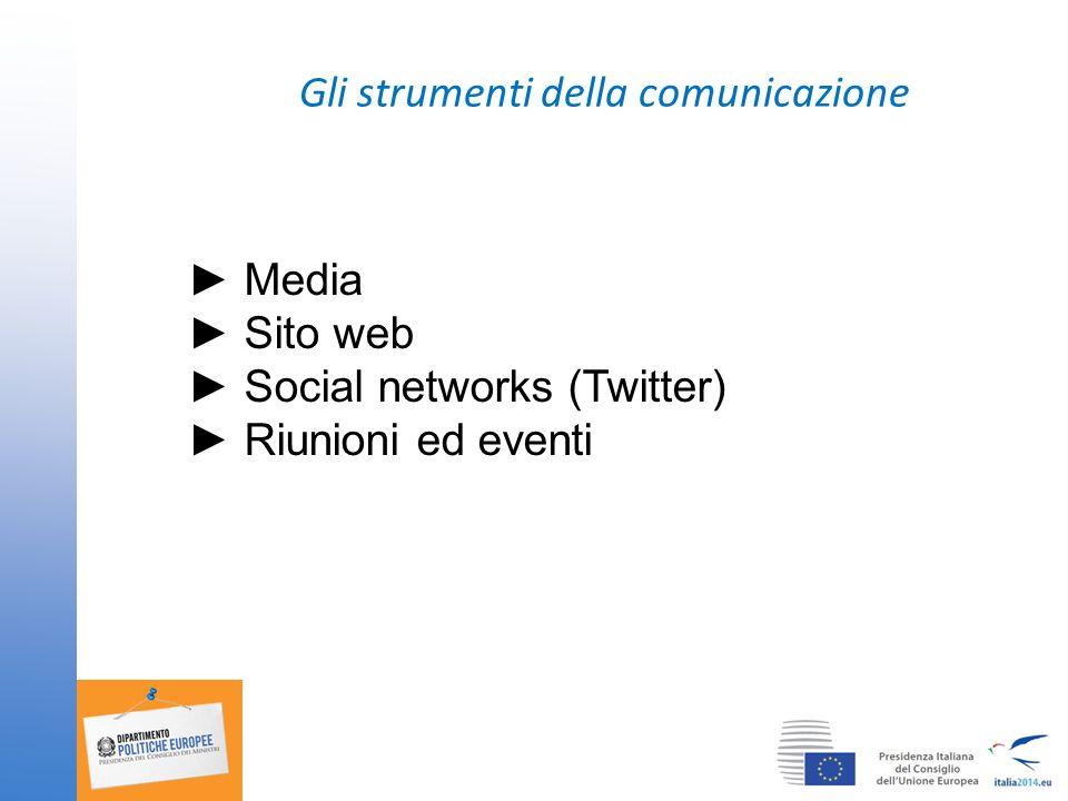 Gli strumenti della comunicazione ► Media ► Sito web ► Social networks (Twitter) ► Riunioni ed eventi