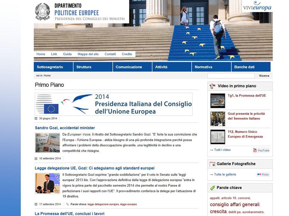www.politicheeuropee.it 1milione di pagine visitate/mese Pagine più lette: 1) beneficiari fondi europei 2) opportunità di lavoro 3) servizi per il cittadino: professioni e Solvit