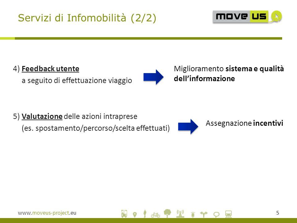 www.moveus-project.eu5 4) Feedback utente a seguito di effettuazione viaggio 5) Valutazione delle azioni intraprese (es.