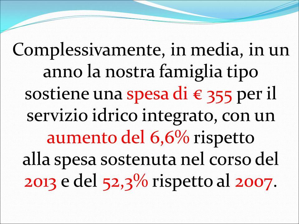 Complessivamente, in media, in un anno la nostra famiglia tipo sostiene una spesa di € 355 per il servizio idrico integrato, con un aumento del 6,6% rispetto alla spesa sostenuta nel corso del 2013 e del 52,3% rispetto al 2007.