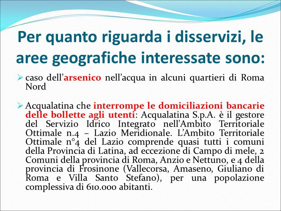 Per quanto riguarda i disservizi, le aree geografiche interessate sono:  caso dell'arsenico nell'acqua in alcuni quartieri di Roma Nord  Acqualatina che interrompe le domiciliazioni bancarie delle bollette agli utenti: Acqualatina S.p.A.