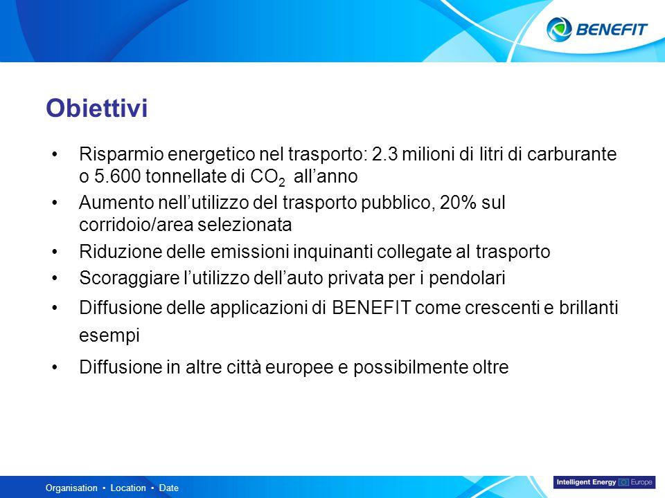 Topic Organisation Location Date Obiettivi Risparmio energetico nel trasporto: 2.3 milioni di litri di carburante o 5.600 tonnellate di CO 2 all'anno Aumento nell'utilizzo del trasporto pubblico, 20% sul corridoio/area selezionata Riduzione delle emissioni inquinanti collegate al trasporto Scoraggiare l'utilizzo dell'auto privata per i pendolari Diffusione delle applicazioni di BENEFIT come crescenti e brillanti esempi Diffusione in altre città europee e possibilmente oltre