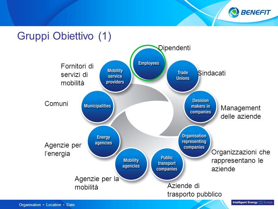 Topic Organisation Location Date Gruppi Obiettivo (1) Dipendenti Sindacati Management delle aziende Organizzazioni che rappresentano le aziende Aziende di trasporto pubblico Agenzie per la mobilità Agenzie per l'energia Comuni Fornitori di servizi di mobilità