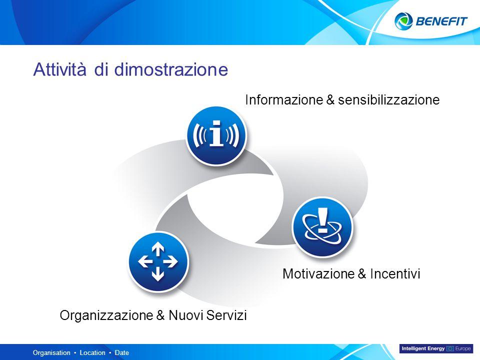 Topic Organisation Location Date Informazione & sensibilizzazione Organizzazione & Nuovi Servizi Motivazione & Incentivi Attività di dimostrazione