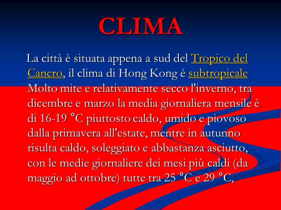 CLIMA La città è situata appena a sud del Tropico del Cancro, il clima di Hong Kong è subtropicale Molto mite e relativamente secco l inverno, tra dicembre e marzo la media giornaliera mensile è di 16-19 °C piuttosto caldo, umido e piovoso dalla primavera all estate, mentre in autunno risulta caldo, soleggiato e abbastanza asciutto, con le medie giornaliere dei mesi più caldi (da maggio ad ottobre) tutte tra 25 °C e 29 °C, La città è situata appena a sud del Tropico del Cancro, il clima di Hong Kong è subtropicale Molto mite e relativamente secco l inverno, tra dicembre e marzo la media giornaliera mensile è di 16-19 °C piuttosto caldo, umido e piovoso dalla primavera all estate, mentre in autunno risulta caldo, soleggiato e abbastanza asciutto, con le medie giornaliere dei mesi più caldi (da maggio ad ottobre) tutte tra 25 °C e 29 °C,Tropico del CancrosubtropicaleTropico del Cancrosubtropicale climaclimaclimaclima