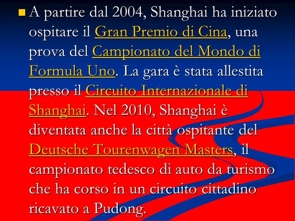 A partire dal 2004, Shanghai ha iniziato ospitare il Gran Premio di Cina, una prova del Campionato del Mondo di Formula Uno.