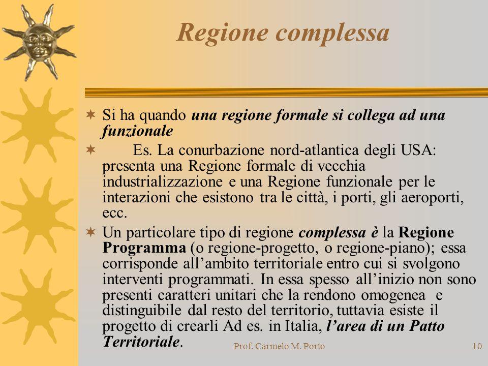 Prof. Carmelo M. Porto10 Regione complessa  Si ha quando una regione formale si collega ad una funzionale  Es. La conurbazione nord-atlantica degli