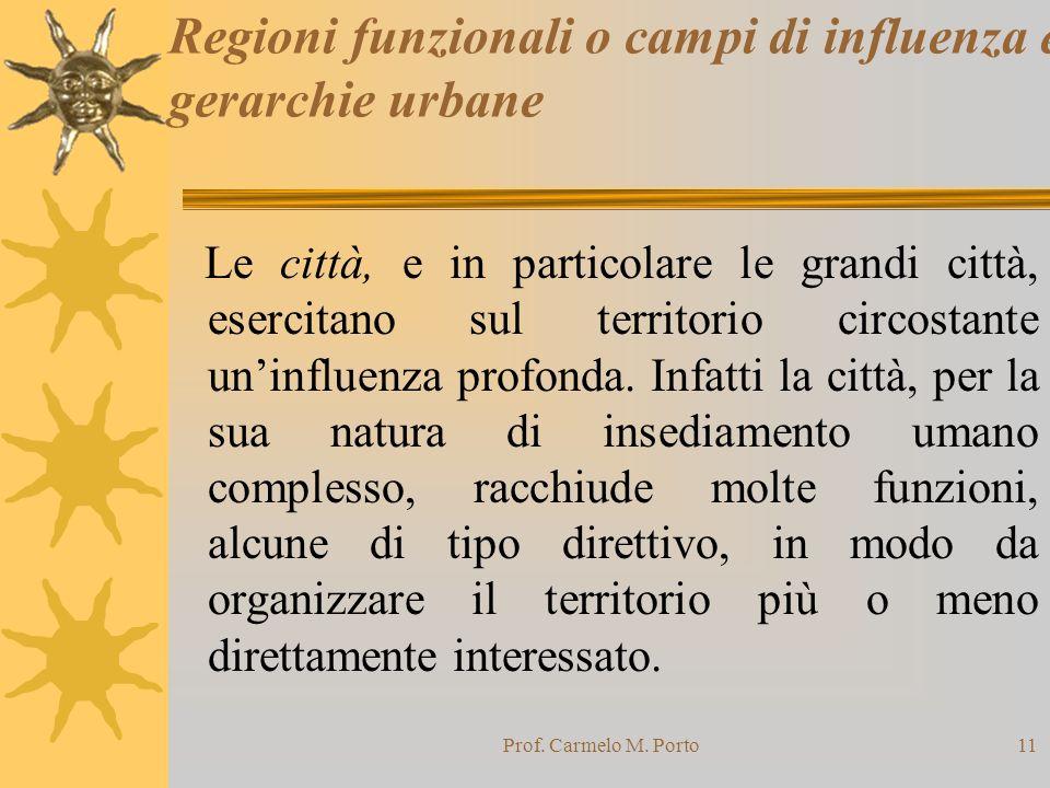 Prof. Carmelo M. Porto11 Regioni funzionali o campi di influenza e gerarchie urbane Le città, e in particolare le grandi città, esercitano sul territo