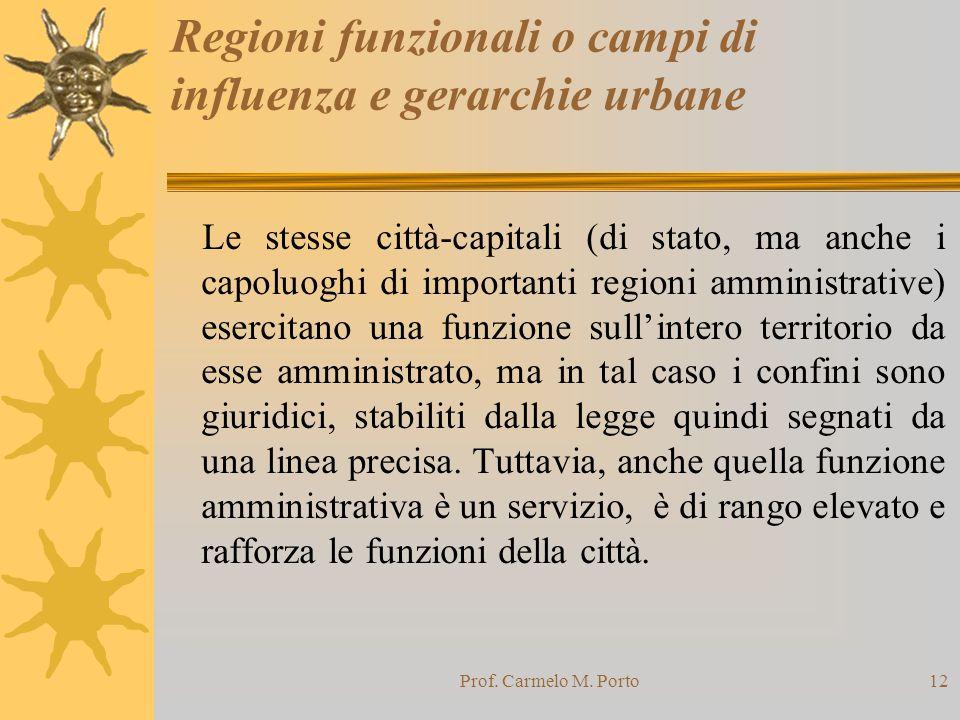 Prof. Carmelo M. Porto12 Regioni funzionali o campi di influenza e gerarchie urbane Le stesse città-capitali (di stato, ma anche i capoluoghi di impor