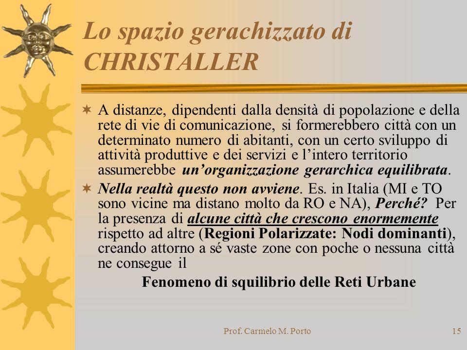 Prof. Carmelo M. Porto15 Lo spazio gerachizzato di CHRISTALLER  A distanze, dipendenti dalla densità di popolazione e della rete di vie di comunicazi