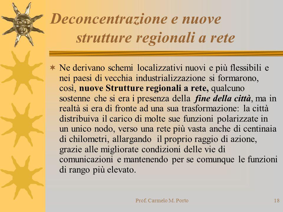 Prof. Carmelo M. Porto18 Deconcentrazione e nuove strutture regionali a rete  Ne derivano schemi localizzativi nuovi e più flessibili e nei paesi di