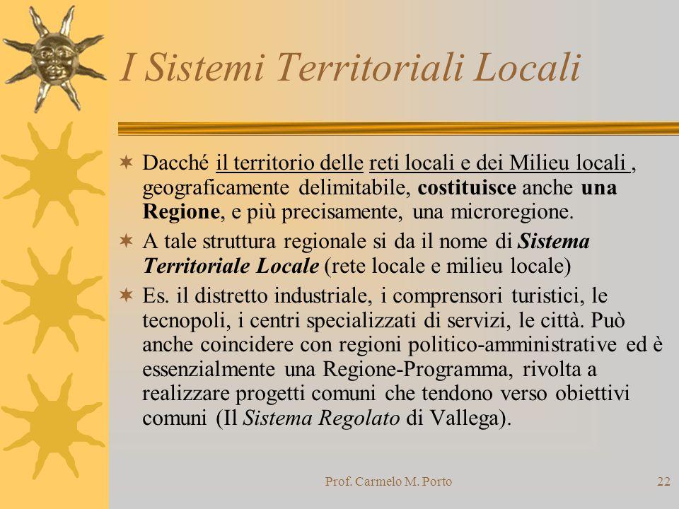Prof. Carmelo M. Porto22 I Sistemi Territoriali Locali  Dacché il territorio delle reti locali e dei Milieu locali, geograficamente delimitabile, cos