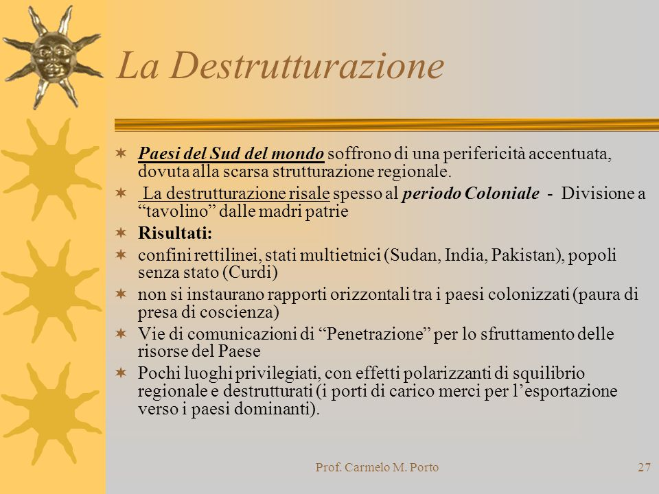 Prof. Carmelo M. Porto27 La Destrutturazione  Paesi del Sud del mondo soffrono di una perifericità accentuata, dovuta alla scarsa strutturazione regi