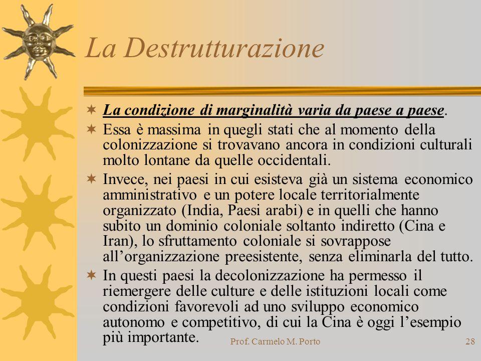 Prof. Carmelo M. Porto28 La Destrutturazione  La condizione di marginalità varia da paese a paese.  Essa è massima in quegli stati che al momento de