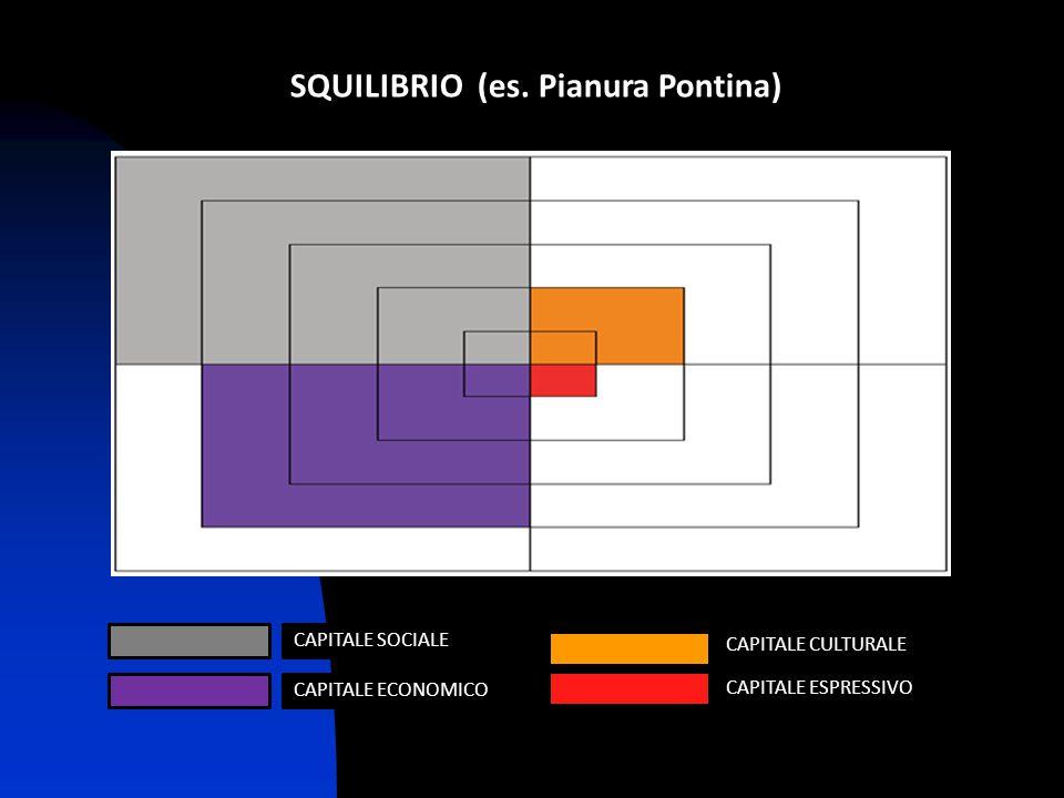 SQUILIBRIO (es. Pianura Pontina) CAPITALE CULTURALE CAPITALE ESPRESSIVO CAPITALE SOCIALE CAPITALE ECONOMICO