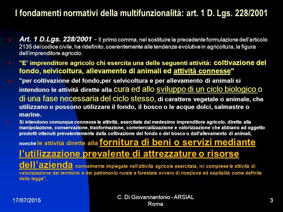 I fondamenti normativi della multifunzionalità: art. 1 D. Lgs. 228/2001 Art. 1 D.Lgs. 228/2001 - Il primo comma, nel sostituire la precedente formulaz