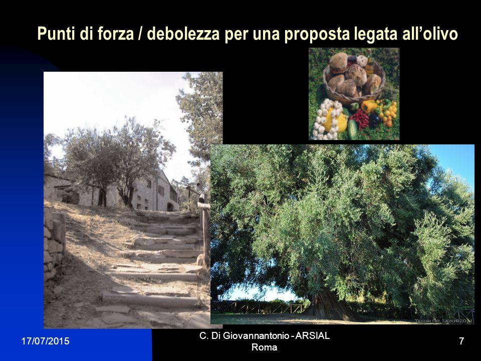 Punti di forza / debolezza per una proposta legata all'olivo 17/07/2015 C. Di Giovannantonio - ARSIAL Roma 7