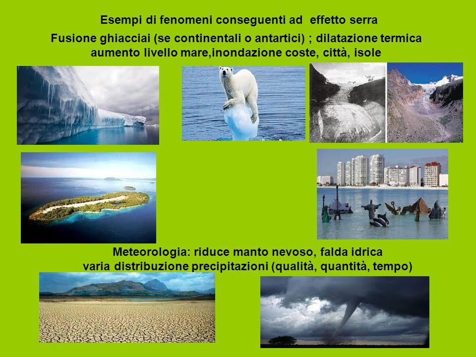 Esempi di fenomeni conseguenti ad effetto serra Fusione ghiacciai (se continentali o antartici) ; dilatazione termica aumento livello mare,inondazione