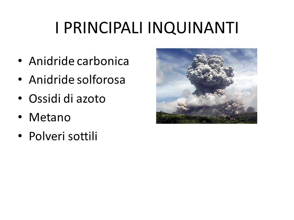 Anidride carbonica (biossido di carbonio) FONTI: Si libera nella combustione del carbon fossile e del petrolio; viene emessa soprattutto dalle centrali termoelettriche e dagli autoveicoli.