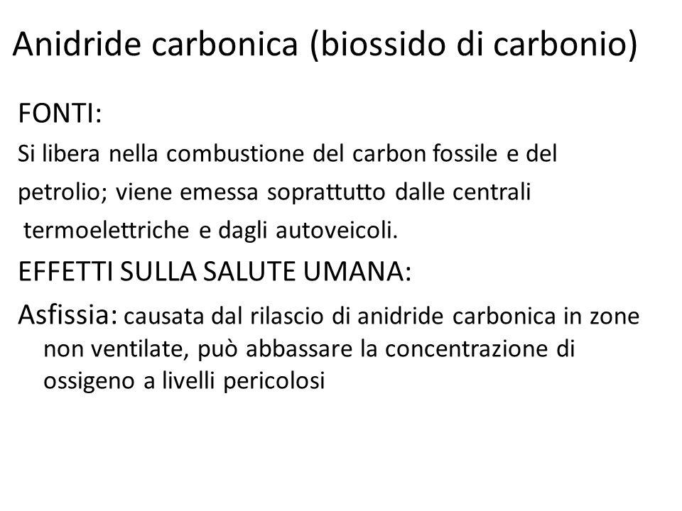 Anidride solforosa (biossido di zolfo) Il biossido di zolfo, o anidride solforosa (SO2), è un gas dall'odore pungente, incolore, irritante, molto solubile in acqua, la cui presenza in atmosfera deriva dalla combustione di prodotti organici di origine fossile contenenti zolfo, quali carbone, petrolio e derivati.