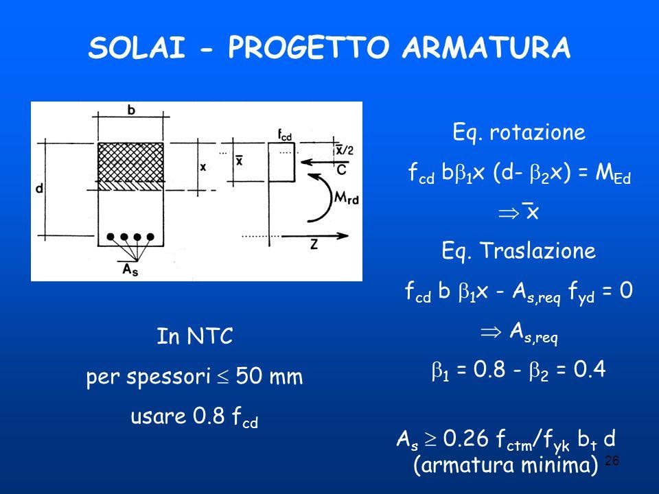 26 SOLAI - PROGETTO ARMATURA Eq. rotazione f cd b  1 x (d-  2 x) = M Ed  x Eq. Traslazione f cd b  1 x - A s,req f yd = 0  A s,req  1 = 0.8 - 