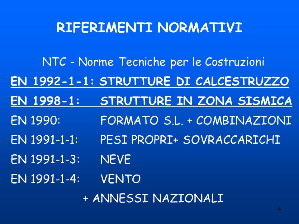 4 RIFERIMENTI NORMATIVI NTC - Norme Tecniche per le Costruzioni EN 1992-1-1: STRUTTURE DI CALCESTRUZZO EN 1998-1:STRUTTURE IN ZONA SISMICA EN 1990:FOR
