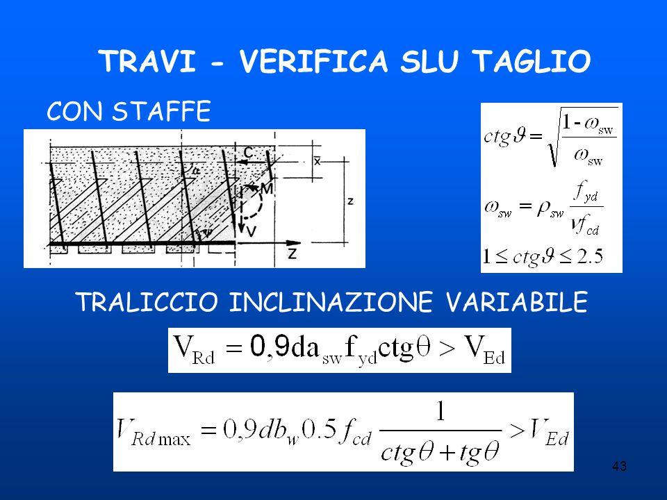 43 TRAVI - VERIFICA SLU TAGLIO CON STAFFE TRALICCIO INCLINAZIONE VARIABILE