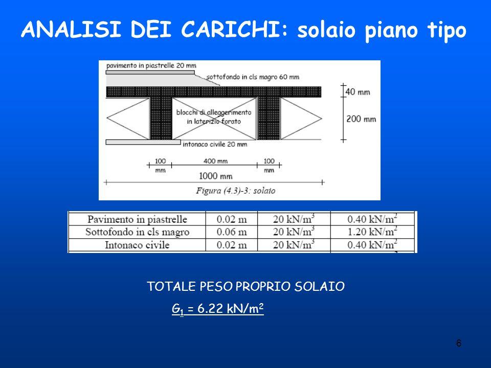 6 ANALISI DEI CARICHI: solaio piano tipo TOTALE PESO PROPRIO SOLAIO G 1 = 6.22 kN/m 2
