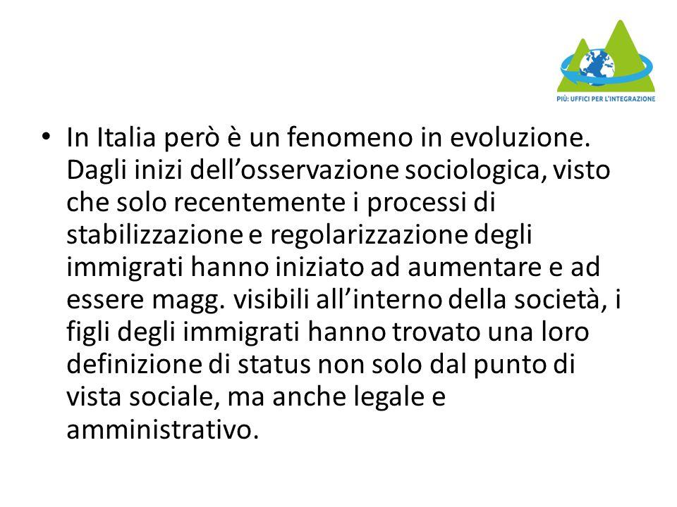In Italia però è un fenomeno in evoluzione. Dagli inizi dell'osservazione sociologica, visto che solo recentemente i processi di stabilizzazione e reg