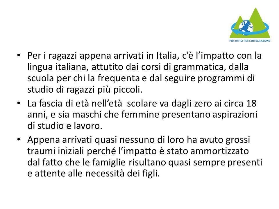 Per i ragazzi appena arrivati in Italia, c'è l'impatto con la lingua italiana, attutito dai corsi di grammatica, dalla scuola per chi la frequenta e d