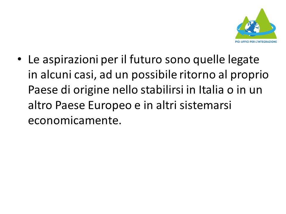 Le aspirazioni per il futuro sono quelle legate in alcuni casi, ad un possibile ritorno al proprio Paese di origine nello stabilirsi in Italia o in un