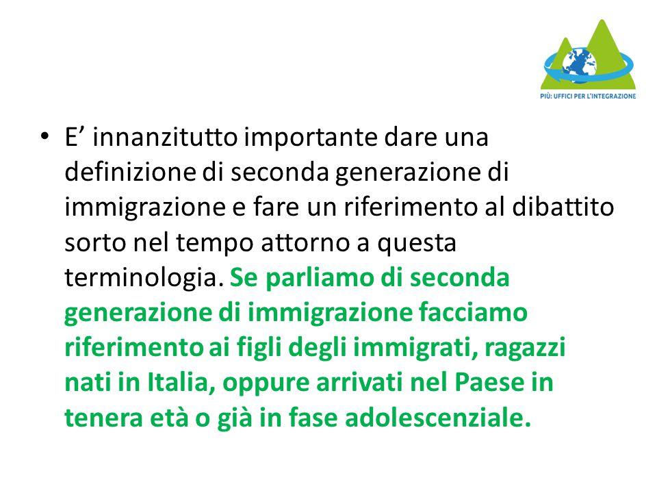 E' innanzitutto importante dare una definizione di seconda generazione di immigrazione e fare un riferimento al dibattito sorto nel tempo attorno a qu