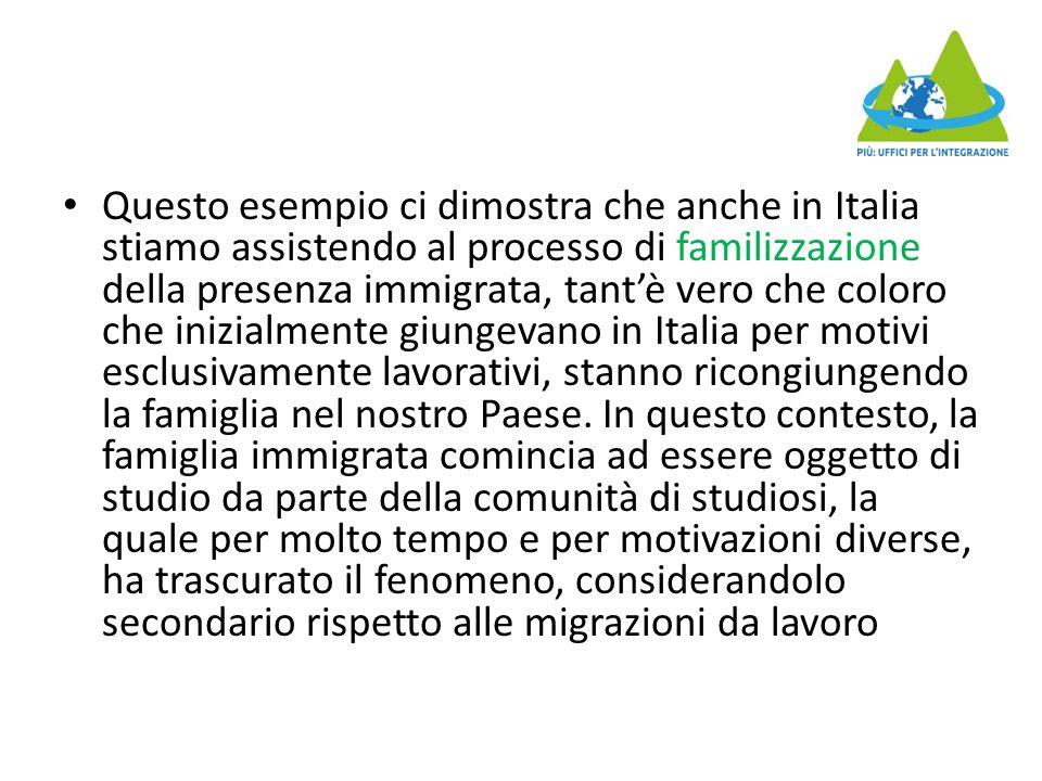 Questo esempio ci dimostra che anche in Italia stiamo assistendo al processo di familizzazione della presenza immigrata, tant'è vero che coloro che in