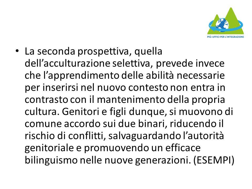 La seconda prospettiva, quella dell'acculturazione selettiva, prevede invece che l'apprendimento delle abilità necessarie per inserirsi nel nuovo cont