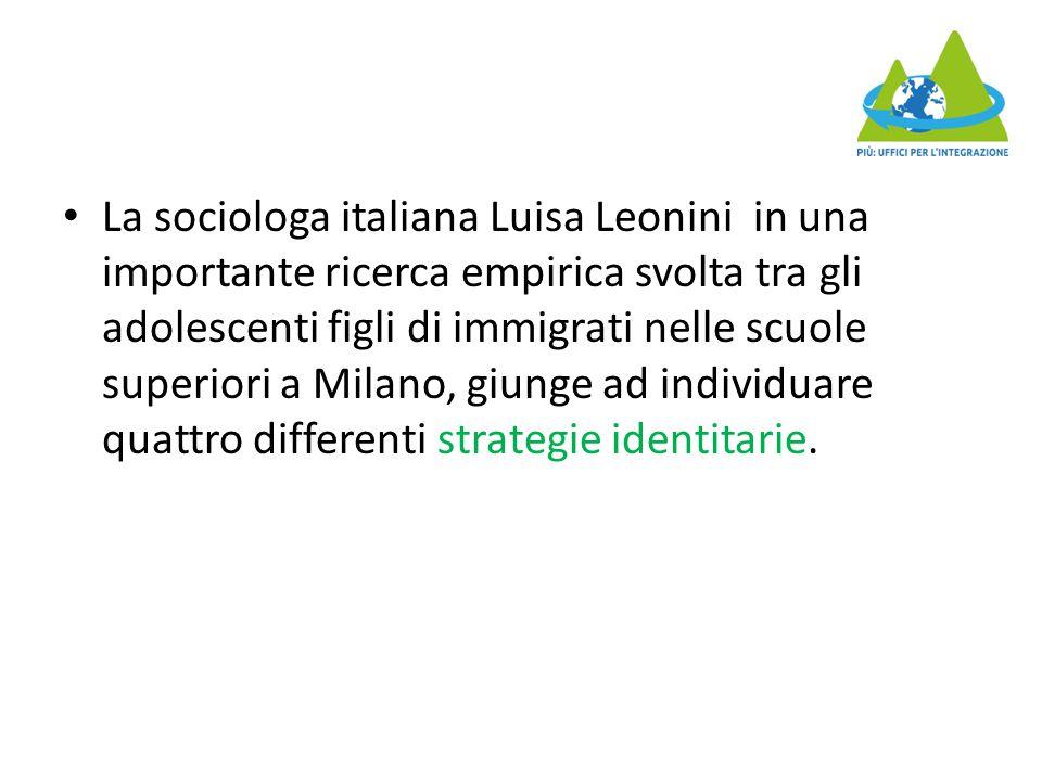 La sociologa italiana Luisa Leonini in una importante ricerca empirica svolta tra gli adolescenti figli di immigrati nelle scuole superiori a Milano,