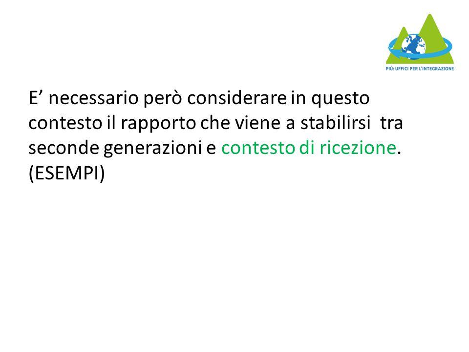 E' necessario però considerare in questo contesto il rapporto che viene a stabilirsi tra seconde generazioni e contesto di ricezione. (ESEMPI)