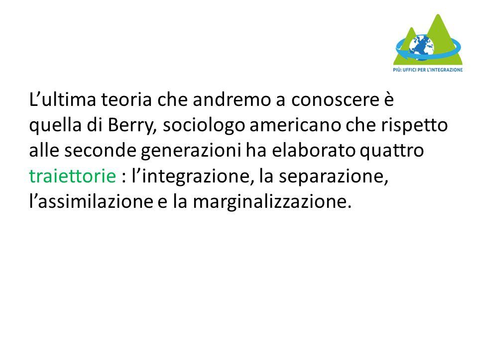 L'ultima teoria che andremo a conoscere è quella di Berry, sociologo americano che rispetto alle seconde generazioni ha elaborato quattro traiettorie