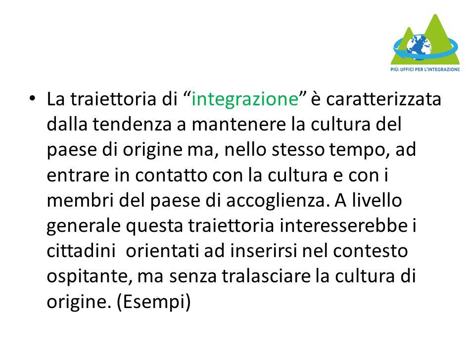 """La traiettoria di """"integrazione"""" è caratterizzata dalla tendenza a mantenere la cultura del paese di origine ma, nello stesso tempo, ad entrare in con"""