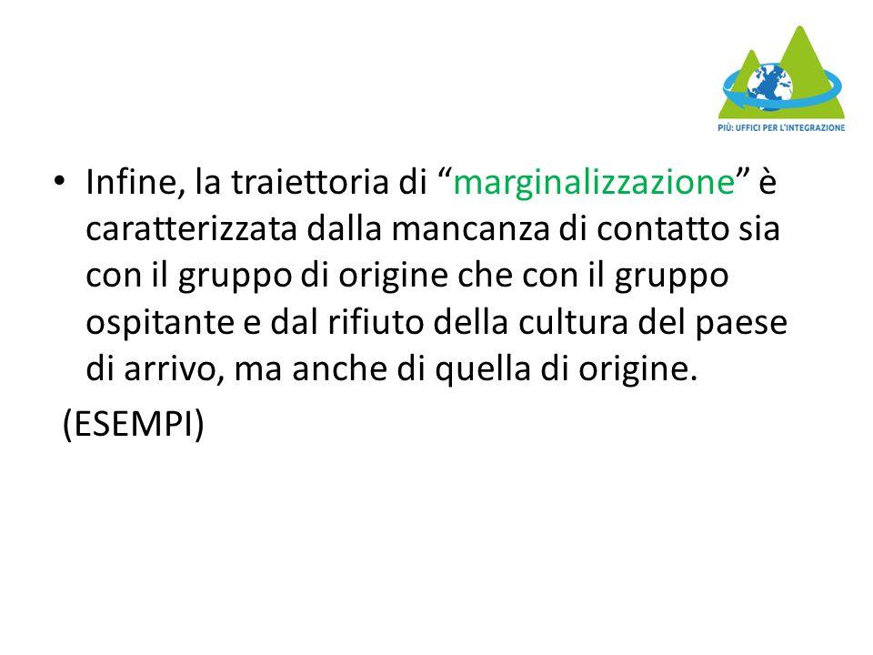 """Infine, la traiettoria di """"marginalizzazione"""" è caratterizzata dalla mancanza di contatto sia con il gruppo di origine che con il gruppo ospitante e d"""