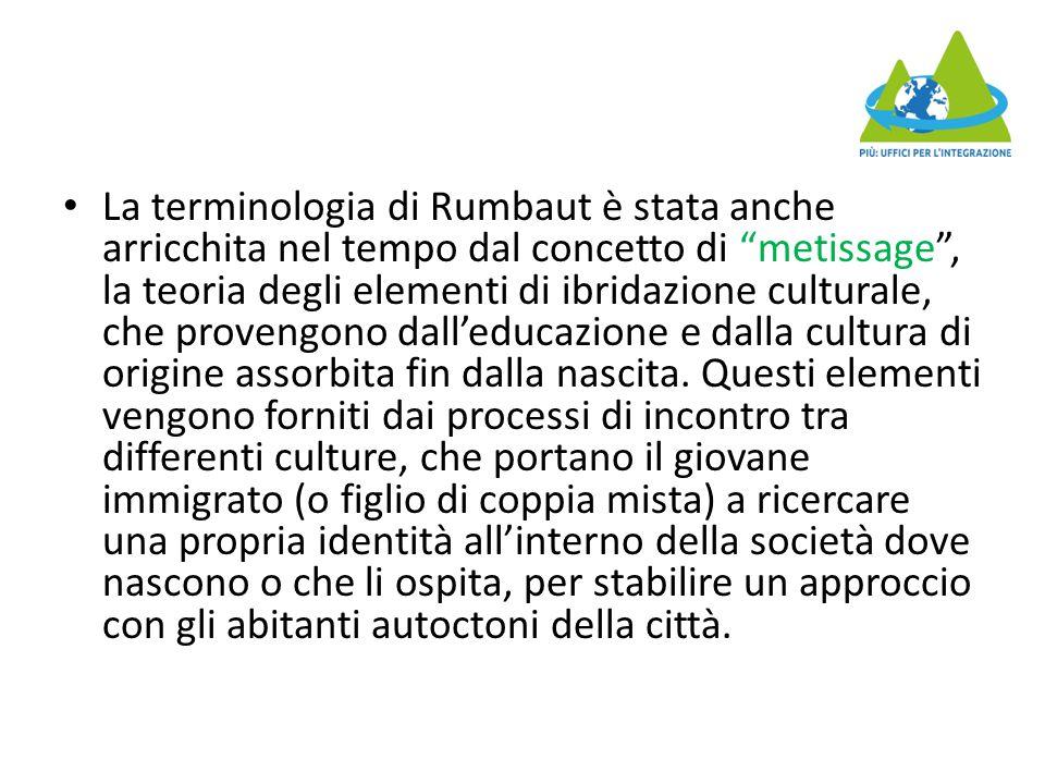 """La terminologia di Rumbaut è stata anche arricchita nel tempo dal concetto di """"metissage"""", la teoria degli elementi di ibridazione culturale, che prov"""