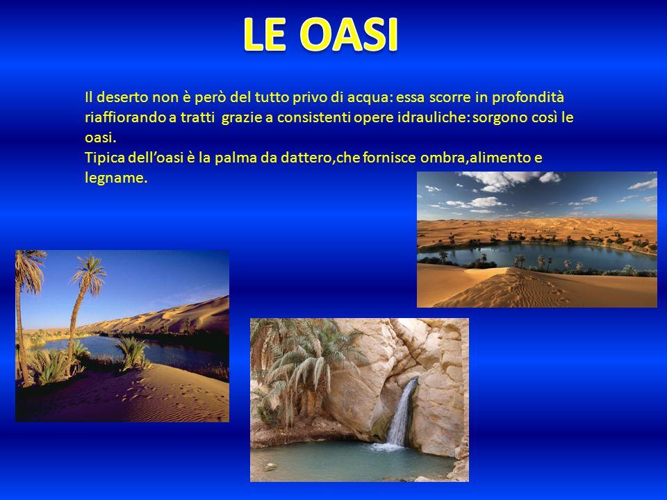 Il deserto non è però del tutto privo di acqua: essa scorre in profondità riaffiorando a tratti grazie a consistenti opere idrauliche: sorgono così le oasi.