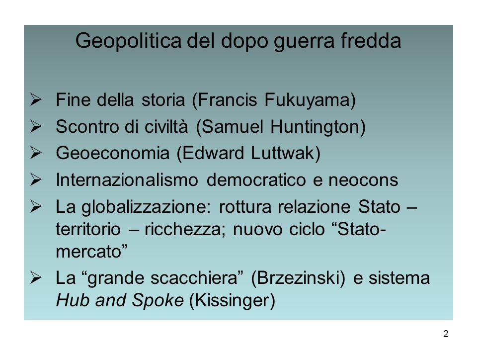 Geopolitica del dopo guerra fredda  Fine della storia (Francis Fukuyama)  Scontro di civiltà (Samuel Huntington)  Geoeconomia (Edward Luttwak)  In