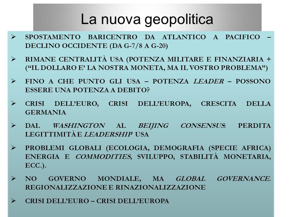 3 La nuova geopolitica  SPOSTAMENTO BARICENTRO DA ATLANTICO A PACIFICO – DECLINO OCCIDENTE (DA G-7/8 A G-20)  RIMANE CENTRALITÀ USA (POTENZA MILITAR