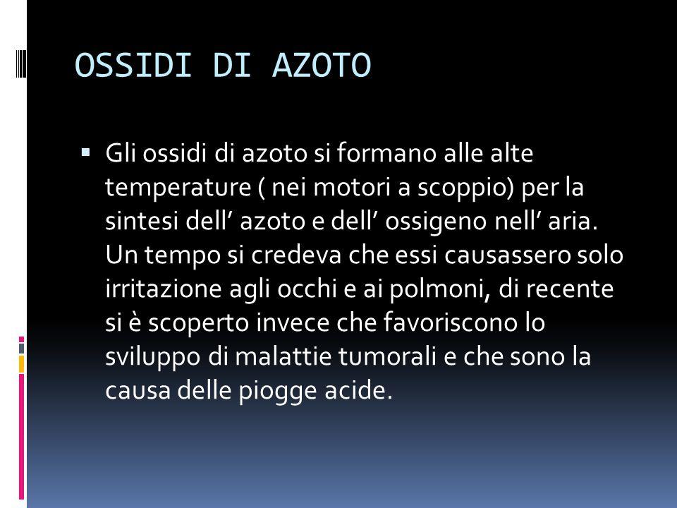 OSSIDI DI AZOTO  Gli ossidi di azoto si formano alle alte temperature ( nei motori a scoppio) per la sintesi dell' azoto e dell' ossigeno nell' aria.