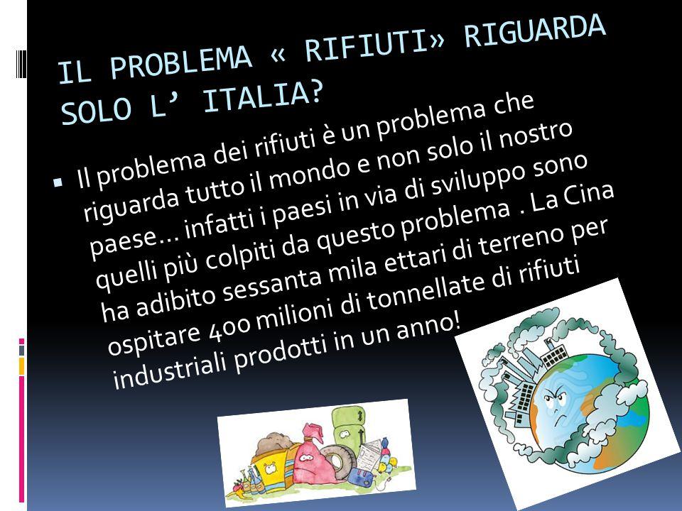 IL PROBLEMA « RIFIUTI» RIGUARDA SOLO L' ITALIA.