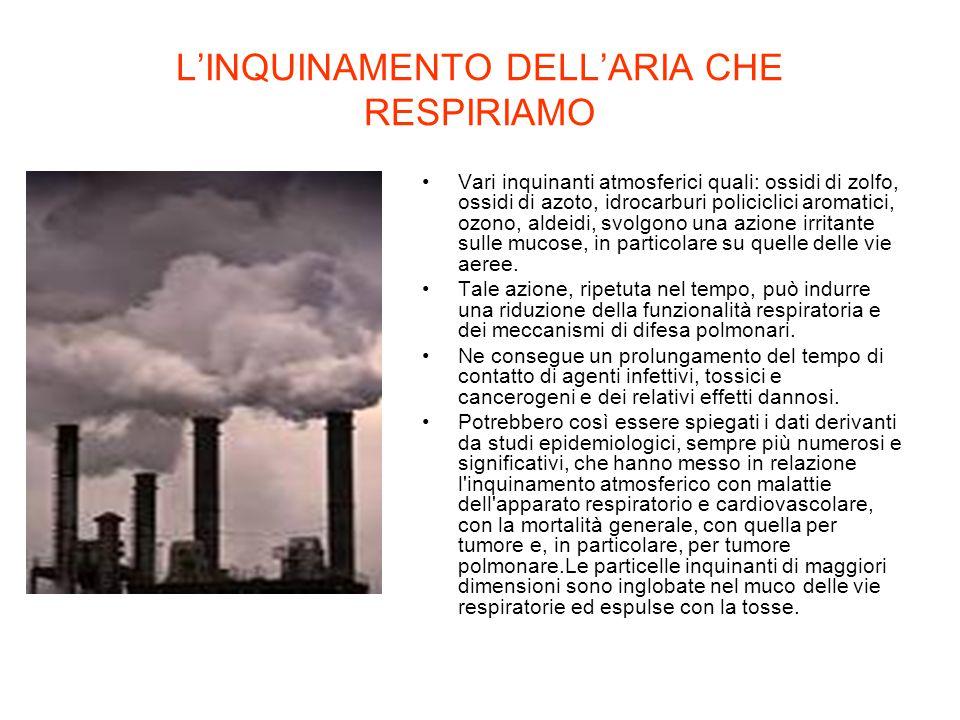 L'INQUINAMENTO DELL'ARIA CHE RESPIRIAMO Vari inquinanti atmosferici quali: ossidi di zolfo, ossidi di azoto, idrocarburi policiclici aromatici, ozono,